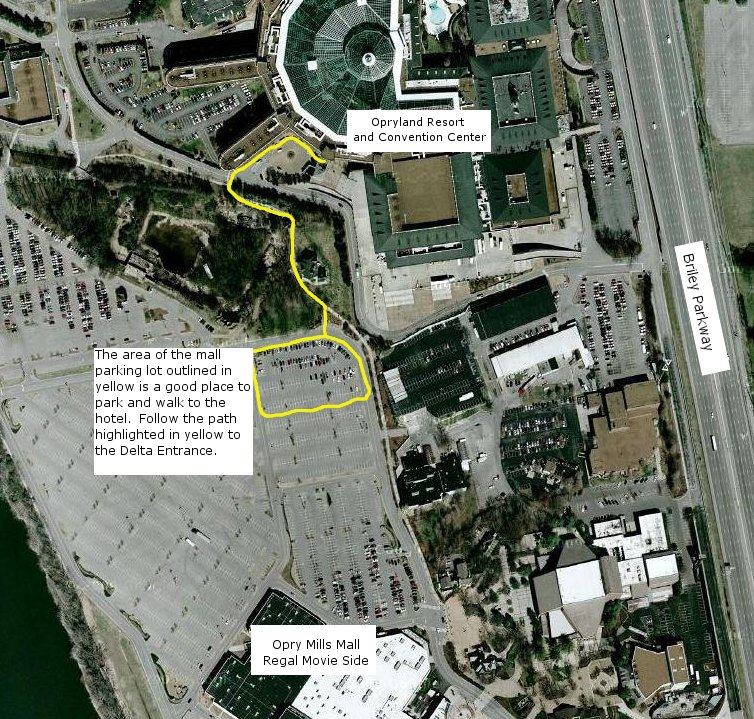 Map from mall lot to hotel entrance